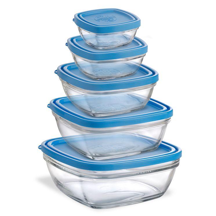 Lot de 5 boîtes en verre carrés transparent avec couvercle bleu - Duralex