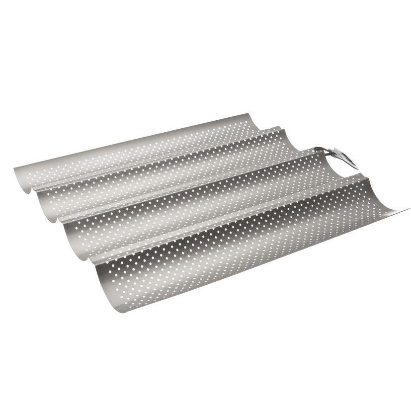 Plaque 4 baguettes en acier antiadhérent gris 33x 38 cm - Ibili