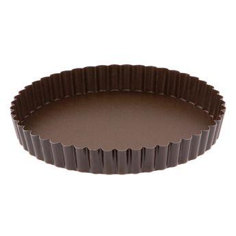 Achat en ligne Moule à tarte rond cannelé marron anti adhérent avec fond amovible 20 cm hauteur 2.5 cm - Gobel