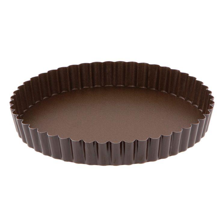 Moule à tarte rond cannelé marron anti adhérent avec fond amovible 20 cm hauteur 2.5 cm - Gobel