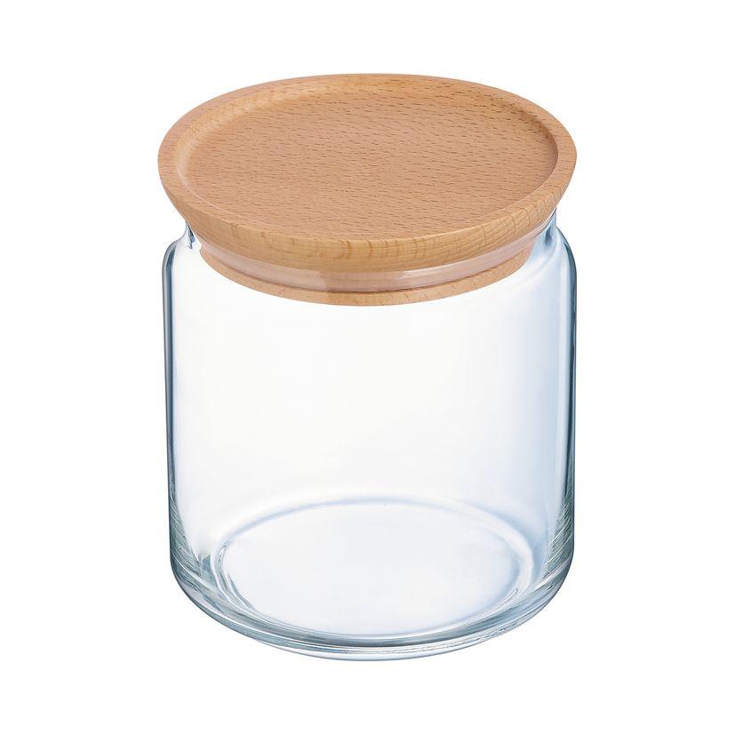 Bocal en verre avec couvercle en bois 0,75L 10,5x10,5x11cm - Luminarc