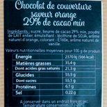 Chocolat de couverture aromatisé orange 250 gr - Trésors de chefs