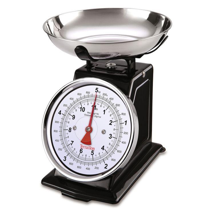 Balance de cuisine rétro mécanique noire - Terraillon