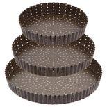 Tourtière ronde cannelée marron anti adhérente 20 cm hauteur 3.5 cm - Gobel