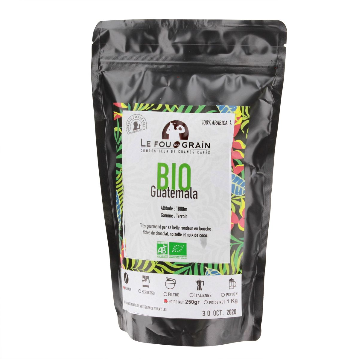 Café en grains 250gr Guatemala bio - Le Fou du Grain