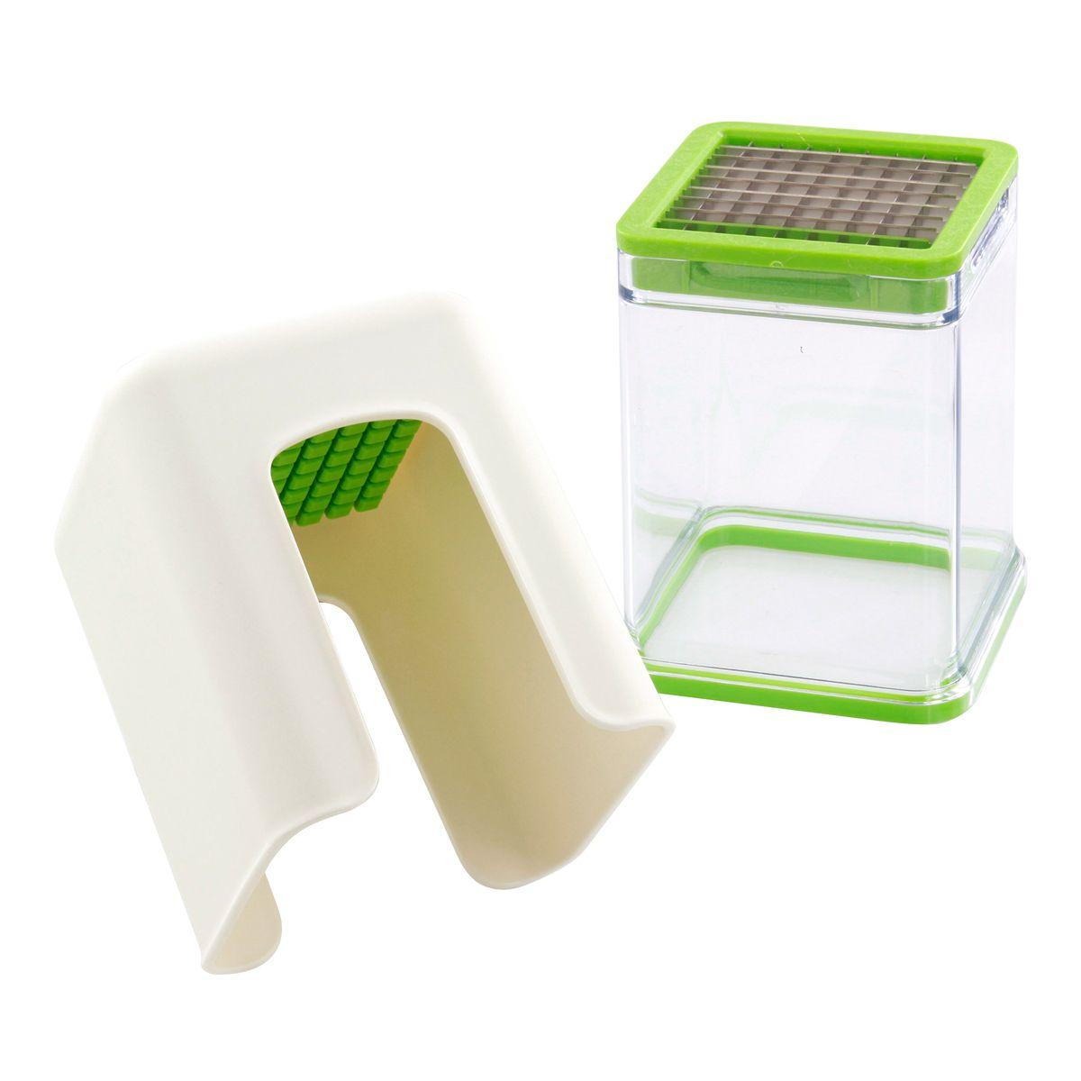 Coupe frite et légumes avec réceptacle blanc. vert et transparent - Progressive