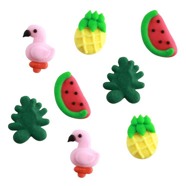 Plaque de décors comestibles : 8 décors thème tropical : flamant rose, ananas, pastèque et feuille