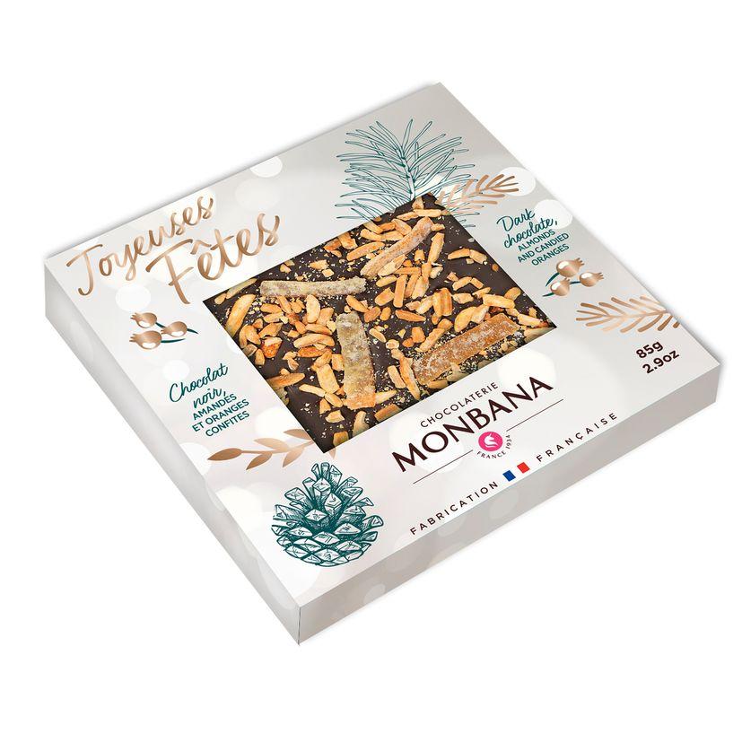 Tablette message joyeuses fetes chocolat noir 85g - Monbana