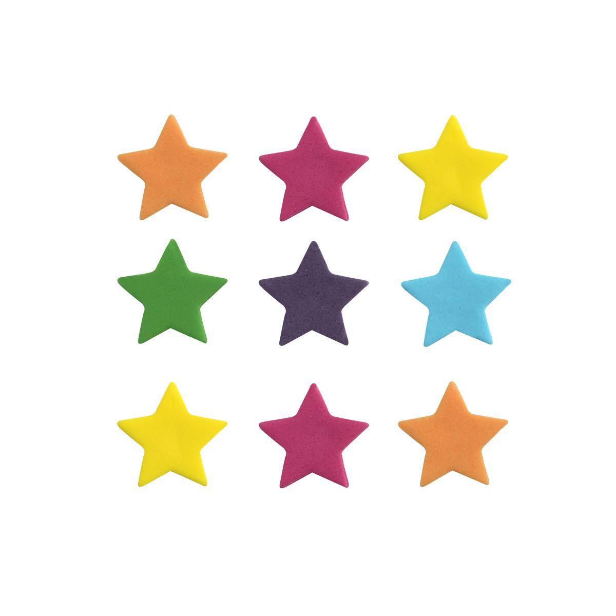 9 décors en sucre étoiles multicolores - Anniversary House