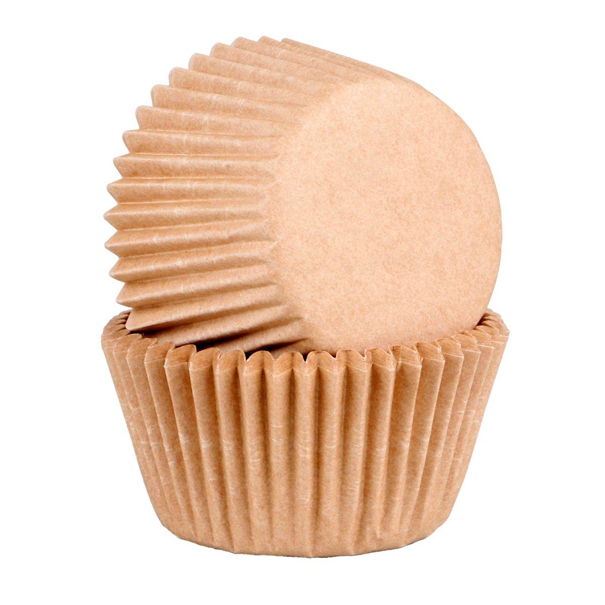 45 caissettes à cupcakes et muffins en papier compostable beige 7.5 x 3.5 cm - Chevalier Diffusion
