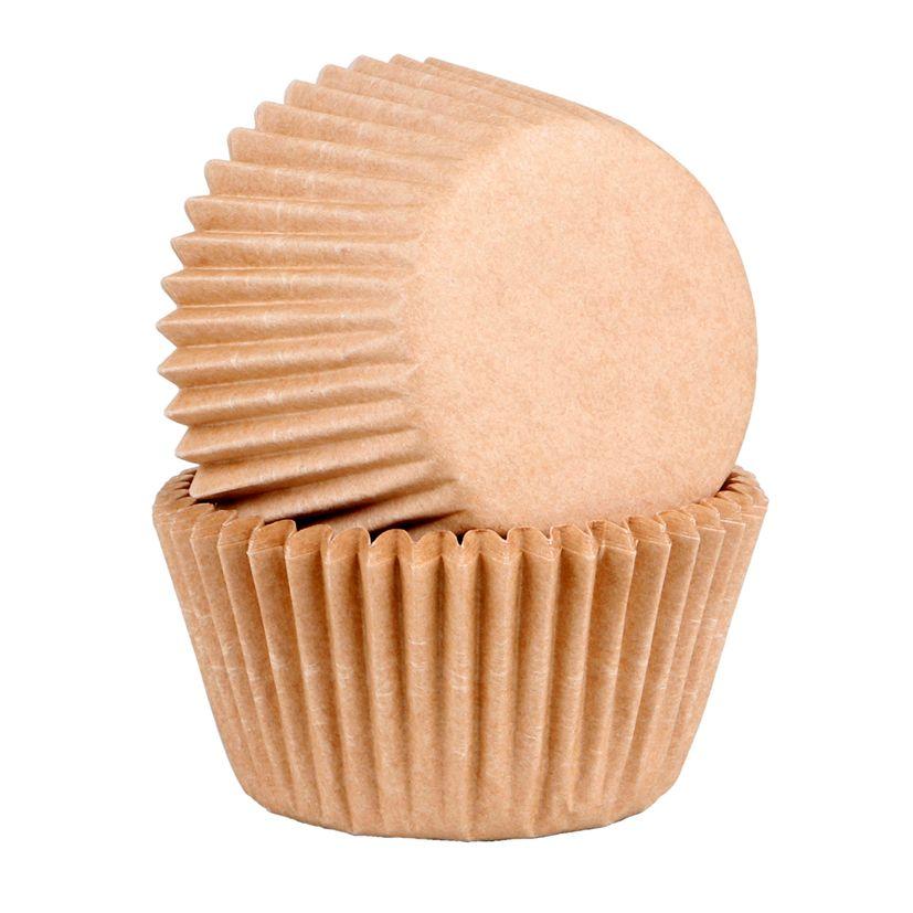 45 caissettes à cupcakes et muffins en papier compostable beige 7.5 cm - Chevalier Diffusion