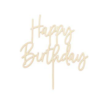 Achat en ligne Décor de gâteau : Happy Birthday en bois 16.5 cm - Party Deco