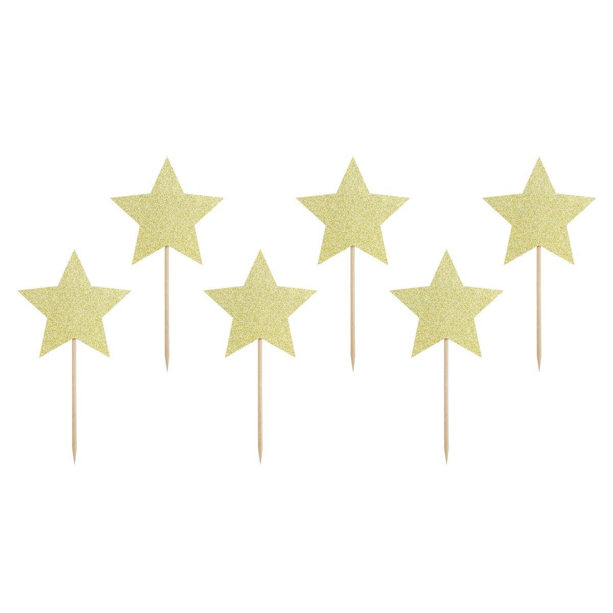 Décor de gâteau : 6 étoiles dorées 11.5 cm - Party Deco