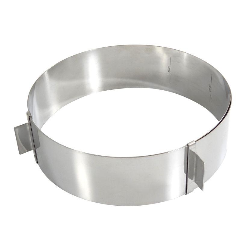 Cercle à pâtisserie réglable en inox de 16 à 28 cm hauteur 6 cm - Gobel