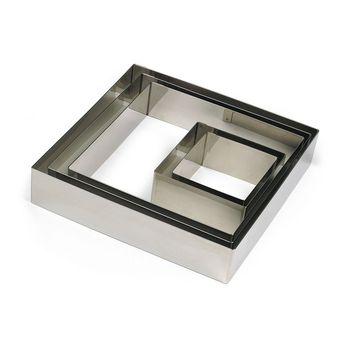Achat en ligne Cadre à pâtisserie carré en inox 22 cm hauteur 4.5 cm - 8/10 parts  Alice Délice