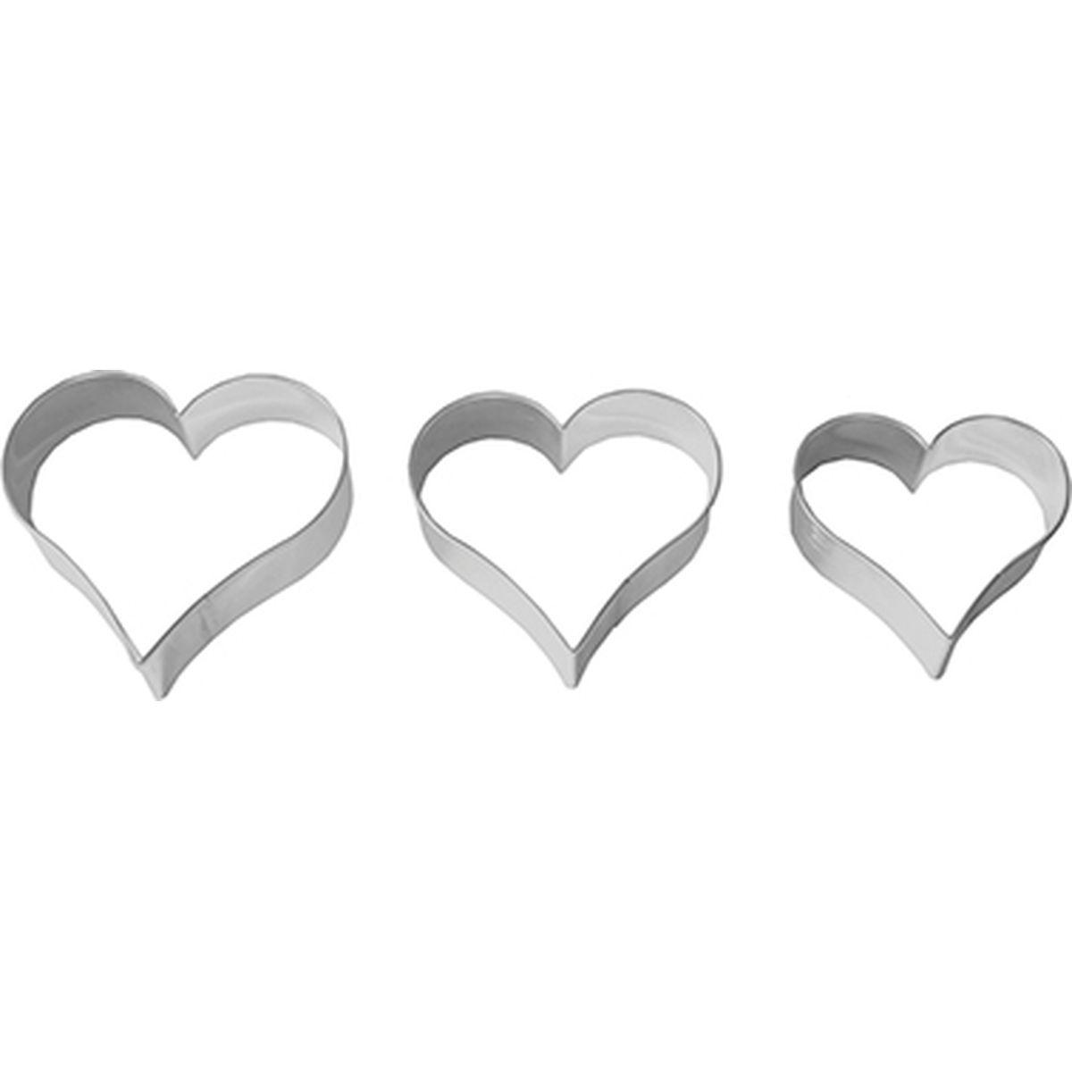 Set de 3 emporte-pièces coeur en inox 4. 5.5 et 6.5 cm - Birkmann