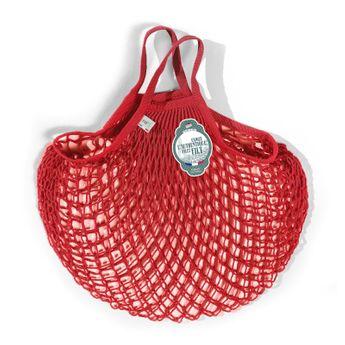 Achat en ligne Filets à provisions anses courtes en coton rouge anemone 40cmx40cm - Filt