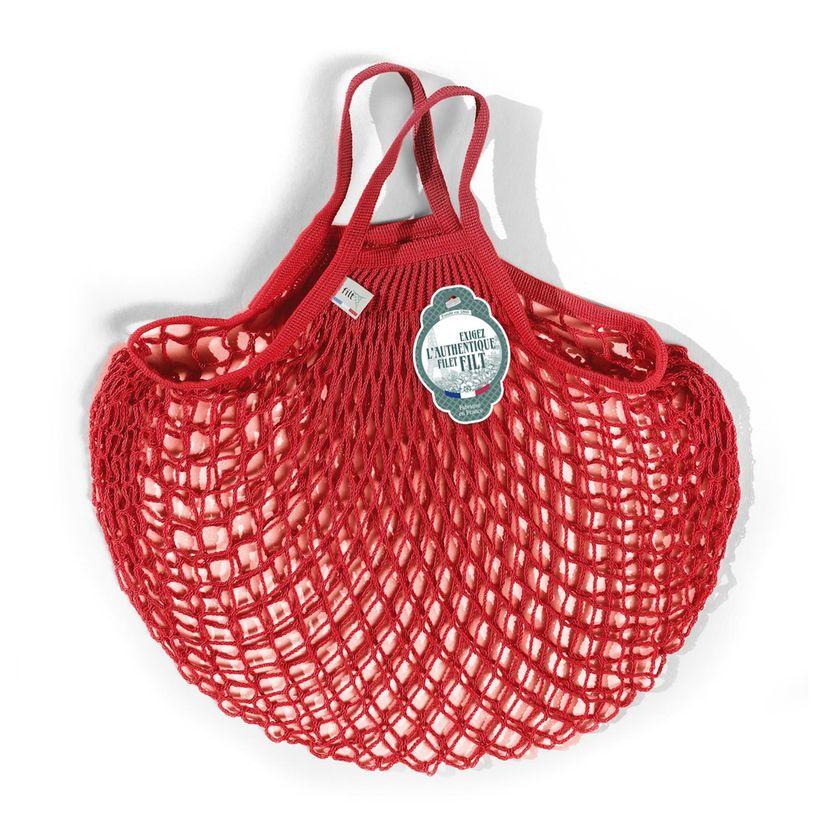 Filets à provisions anses courtes en coton rouge anemone 40cmx40cm - Filt
