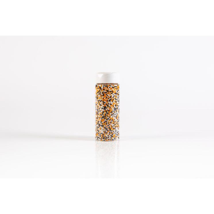 Décor à parsemer : petites perles oranges, noires et blanches Halloween 110gr