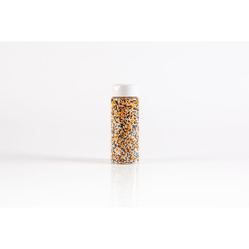 Décors à parsemer petites perles Halloween oranges. noires et blanches 110 gr