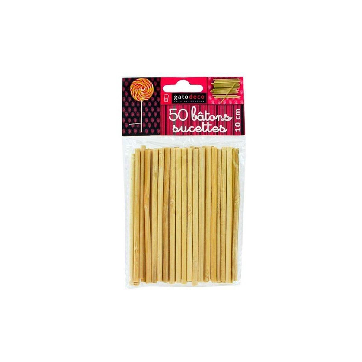 50 batons de sucette et popcake en bois 10 cm - Patisdecor