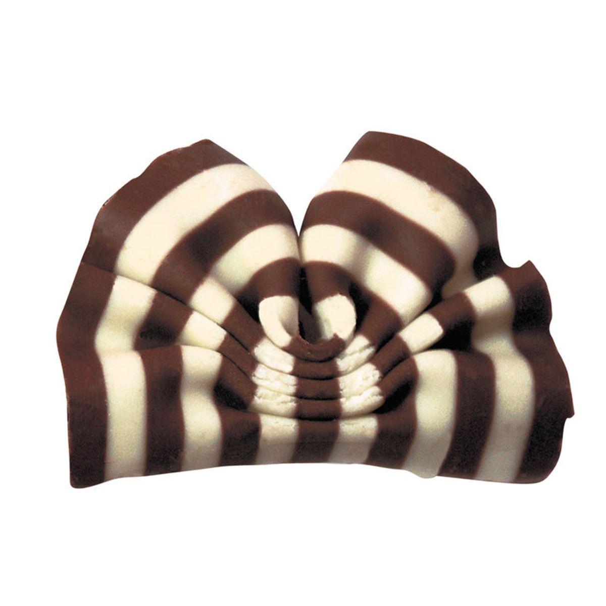 Décor en chocolat : petits éventails au deux chocolat noir et blanc 50 gr