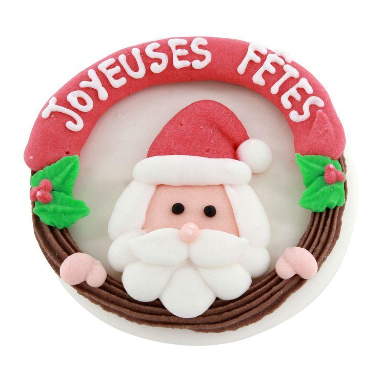 Plaque décor comestible Joyeuses Fêtes 7 cm