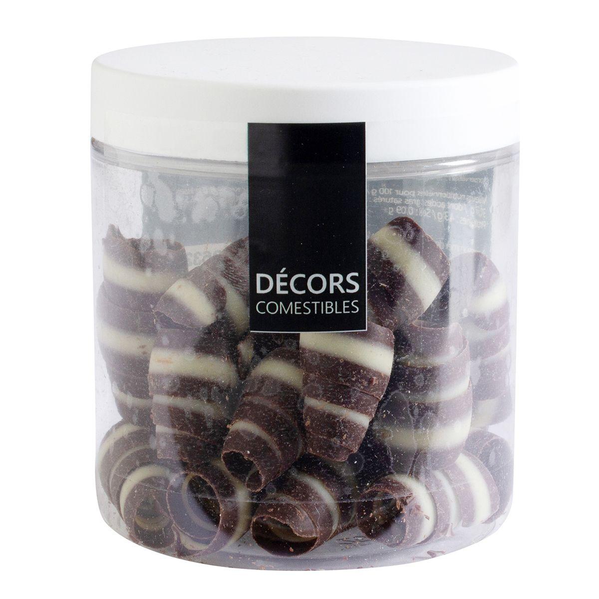 Décor en chocolat : maxi copeaux au deux chocolats noir et blanc 50 gr
