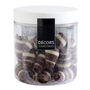 Achat en ligne Décor en chocolat : maxi copeaux au deux chocolats noir et blanc 50 gr