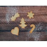 Set de 5 emporte-pièces en inox Noël : Etoile filante, sapin, candy cane, coeur et flocon - Alice Délice