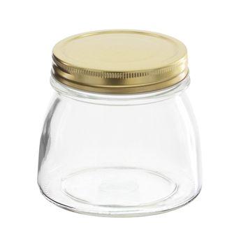 Achat en ligne Bocal en verre couvercle doré 500ml - Borgonovo
