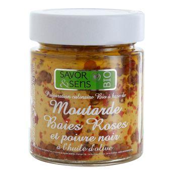 Achat en ligne Moutarde bio baies roses poivre noir 130g - Savor et Sens