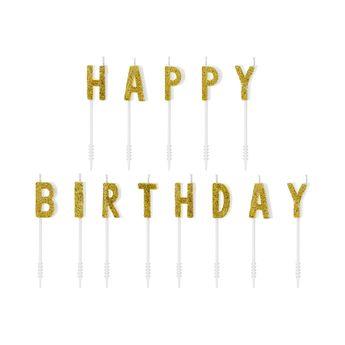 Achat en ligne Bougies lettres Happy Birthday dorées 2,5 cm - Party Deco