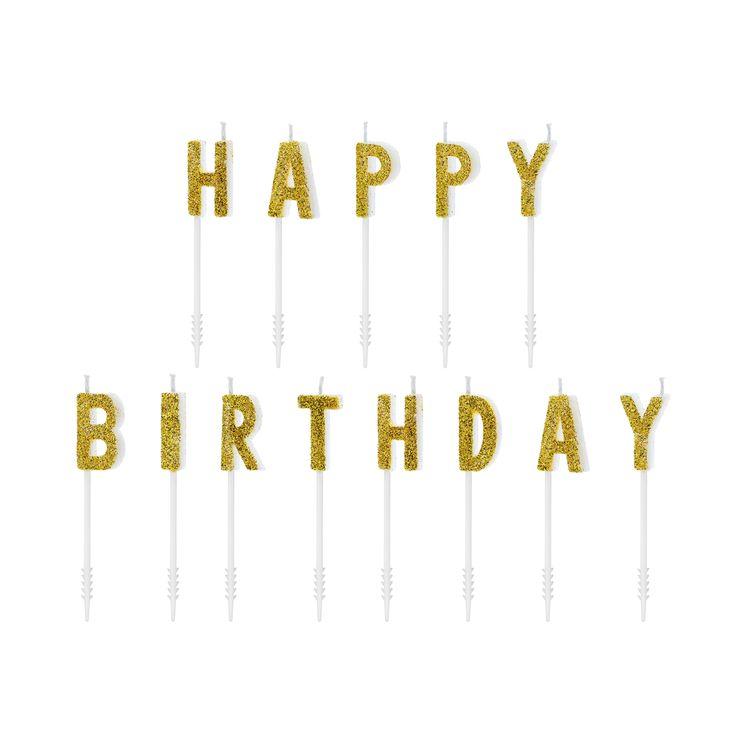 Bougies lettres Happy Birthday dorées 2,5 cm - Party Deco