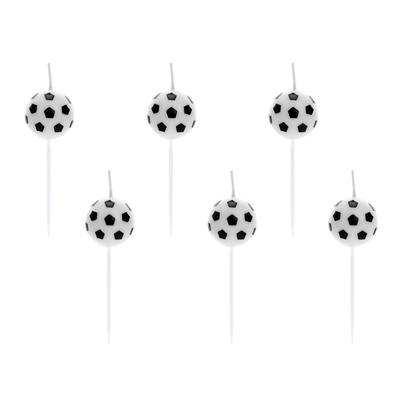 6 bougies ballons de foot 2,5 cm - Party Deco
