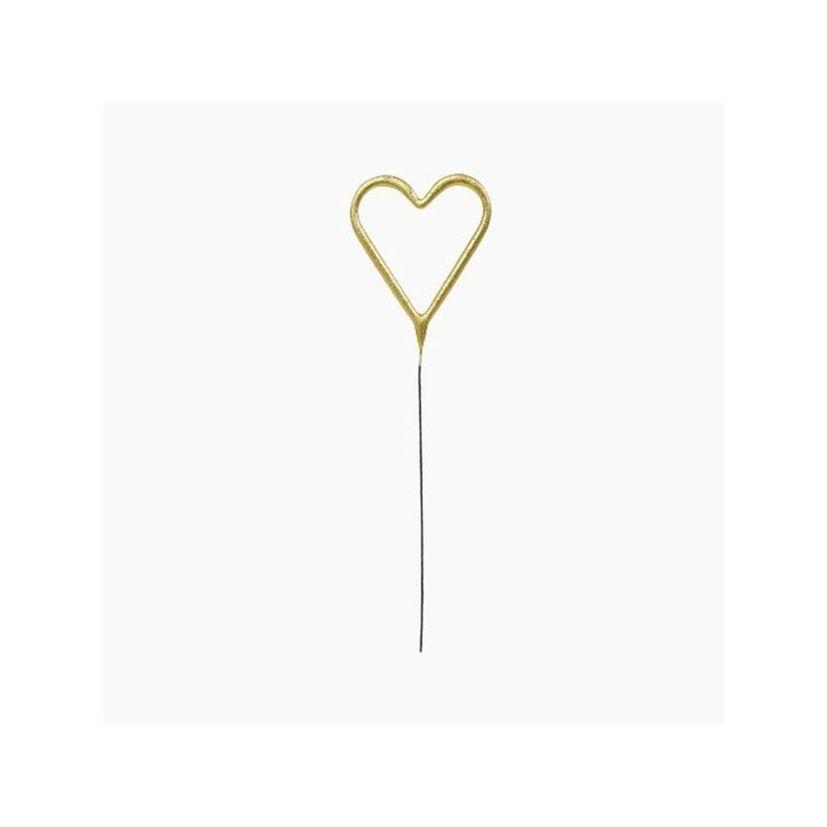 Bougie scintillante dorée coeur - Patisdecor