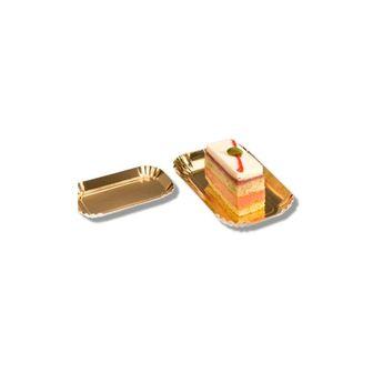 Achat en ligne 100 mini plateaux rectangulaires en carton doré 5,5 x 9,5 cm - Patisdecor