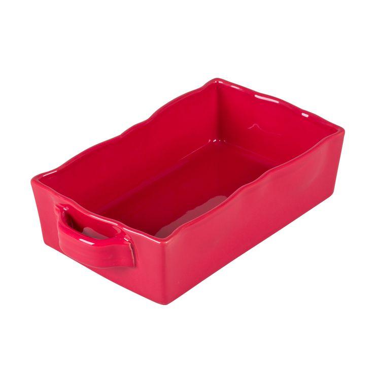 Plat à four rectangulaire en grès rouge 25 x 17 cm - Table Passion