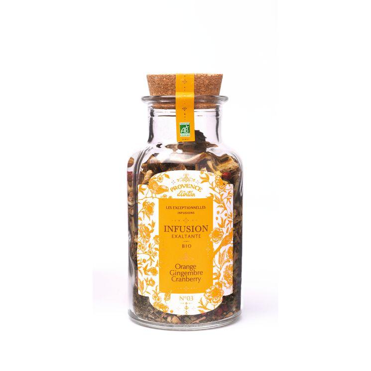 Infusion bio exaltante vrac orange/gingembre/cranberry 70gr - Provence d'Antan