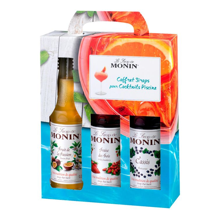 Coffret sirop Piscine cassis, fraise des bois, passion, 3x25cl - Monin