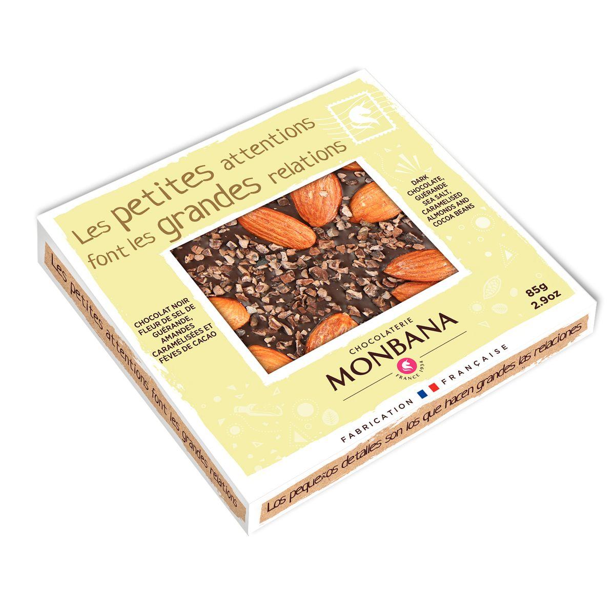 Tablette de chocolat noir à la fleur de sel 85g - Monbana