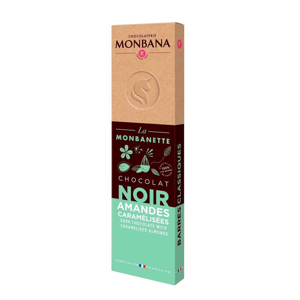 Barre de chocolat noir aux amandes caramélisées 40g - Monbana