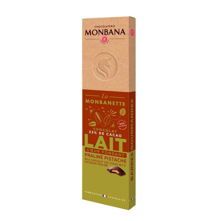 Barre de chocolat au lait fourré au praliné pistache 40g - Monbana