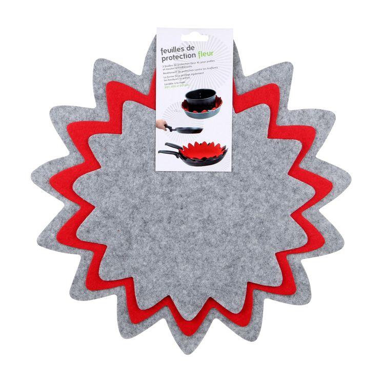 Set de 3 feuilles de protection pour rangements des casseroles et poèles XL 24 / 32 / 37 cm