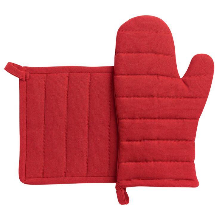Lot de gants et maniques en coton recyclé rouge - Winkler