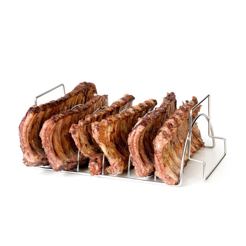 Support pour 6 viandes ou ribs en inox 34.5 x 20 x 15 cm - Barbecook