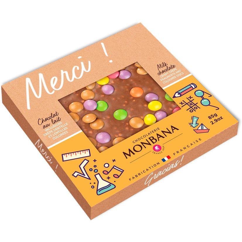 Tablette de chocolat au lait inclusions crêpe dentelles et lentilles colorées 85g - Monbana