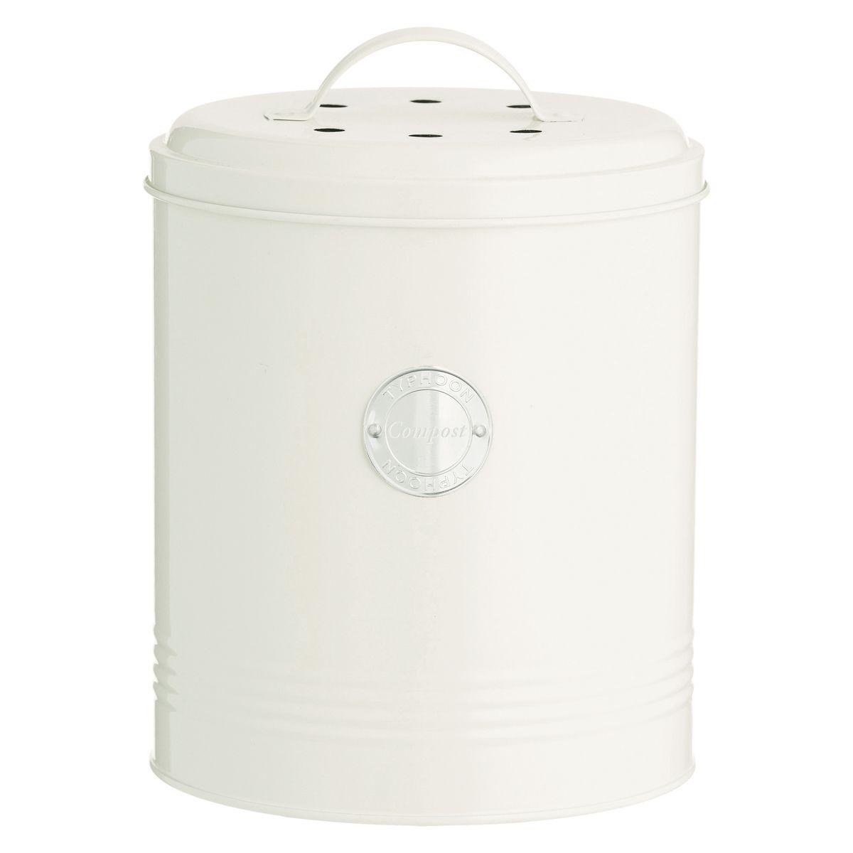 Poubelle à compost blanc cassé avec filtre charbon 2,5L - Typhoon