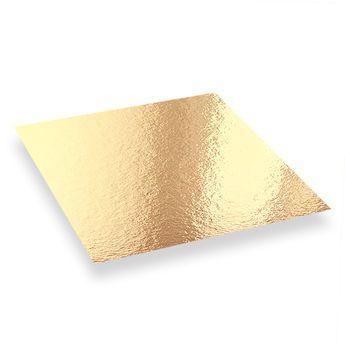 Achat en ligne 5 supports à gâteaux carrés dorés et noirs 24 x 24 cm - Patisdecor