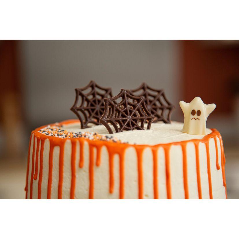 Décor en chocolat : 15 toiles d´araignées en chocolat noir pour gâteau d´Halloween 5 cm
